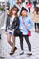 Pink Hair x Leopard Girl (tokyofashion) Tags: street fashion japan japanese tokyo style tights snaps leopardprint denim creepers pinkhair leatherjacket platforms leggings 2012 tgc hairbow streetsnap tokyogirlscollection stretet