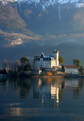 Reflections of a chateau (snowyturner) Tags: winter light lake snow france alps cold castle annecy reflections lac alpine chateau piedmont duingt