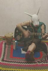 rabbit   97/365 (horsesqueezing) Tags: selfportrait rabbit mask guitar blanket 365 gin selfie 97365 2014