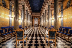 The Hall of Johan I (henriksundholm.com) Tags: windows architecture religious candles pattern shadows floor chairs sweden stockholm interior columns chess palace lodge pillows altar ritual sverige walls lamps cloth arcades occult society hdr rococo freemasons orden classicism blasieholmen cealing candelabras frimurarna johannessalen btska johaneriksderlund btskapalatset