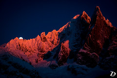 Magic Moment DeschampsDamien (Damien DESCHAMPS) Tags: pink winter light sunset sun moon snow mountains alps ice rock landscape one nikon glow shot earth lumire magic glacier moonrise rare timeless coucherdesoleil d800 synchro leverdelune