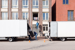 (Peter de Krom) Tags: window truck moving high rotterdam waiting watching newhouse trucks patience movers unload unloading katendrecht