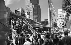 Platoon of commuters (odeleapple) Tags: bw classic film 35mm tokyo voigtlander bessa commuter nokton platoon r2m neopan100acros