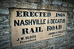 Builder's plate, historic Nashville & Decatur Railroad water tower, Nashville, Tennessee (BDM17) Tags: railroad brick tower monument water stone tank tn nashville tennessee rail plate builder decature