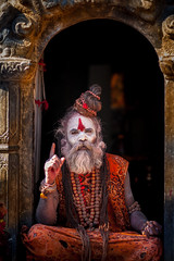 A Spititual Illumination ...... (Chaschaser) Tags: travel nepal portrait man temple asia holy katmandu sadhu pashupatinath