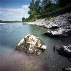 Po river (Crescentino, italy) # 1 (Roberto Messina photography) Tags: color 6x6 film analog pinhole analogue expired avril 2016 wppd fujipro160