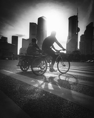 The never ending cycle~ Shanghai (~mimo~) Tags: china sunset shadow blackandwhite white black bike bicycle silhouette asia shanghai lujiazui