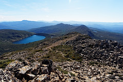 20160424-31-Hartz Lake from Hartz Peak (Roger T Wong) Tags: trek outdoors nationalpark path walk australia hike scree tasmania bushwalk tramp 2016 dolerite hartzpeak hartzmountainsnationalpark sony1635 rogertwong sel1635z sonya7ii sonyilce7m2 sonyalpha7ii sonyfe1635mmf4zaosscarlzeissvariotessart lakehartz