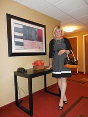 CK girl, dress, cardi, purse (krislagreen) Tags: black pumps dress cd femme gray hose tgirl transgender purse blond transvestite crossdress tg cardi patent feminization feminized