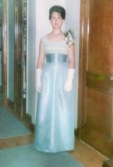 1965 (2) Karen dressed for La Reine HS prom (JLeeFleenor) Tags: photos photography md lareinehighschool suitland girls woman femme frau vrouw donna mujer dona    ena kvinde nainen   n  wanita   kvinne  kobieta mulher  kvinna  kadn  formal gown prom scanned enhanced bluegloves white inside maryland