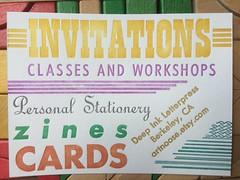 Deep Ink Letterpress flyers (artnoose) Tags: lines metal ink cards berkeley flyer stripes postcard deep type letterpress zines lettra deepinkletterpress