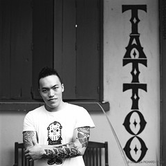Nigel inked by Cliff - Orangutan Studio - Kota Kinabalu, Sabah - Borneo (P_mod) Tags: blackandwhite white black film tattoo ink square hasselblad borneo iban pmod