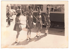 Vintage Oct 1942 Snapshot : Majorettes Preparing to March (CHAIN12) Tags: girls bus vintage photo pittsburgh band pa scanned marching majorette brookline drrnsoct1942brooklinepttpamajorettes