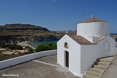 Lindos (Eleanna Kounoupa) Tags: white seascape weather islands rocks greece beaches rodos lindos littlechurch   dodecaneseislands