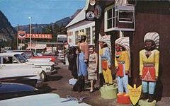 Indians At Summit Inn!!, Snoqualmie Pass, Washington (SwellMap) Tags: architecture vintage advertising design pc 60s fifties postcard suburbia style kitsch retro nostalgia chrome americana 50s roadside googie populuxe sixties babyboomer consumer coldwar midcentury spaceage atomicage