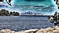 Toronto skyline painting effects  CCphotoworks (CCphotoworks) Tags: toronto ontario canada skyline landscapes shorelines lakes processing lakeontario artisticphotography paintingeffects
