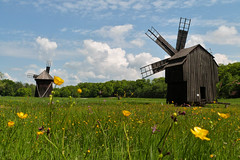 A different land (Adriana Faciu) Tags: park flowers sky mill windmill grass museum clouds wind outdoor large wideangle transylvania dumbrava