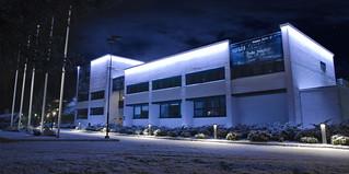 Kauniainen city hall facade lighting