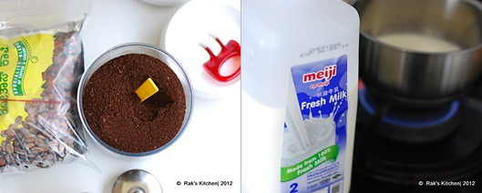 coffee powder and fresh milk