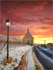 Black Road (Jean-Michel Priaux) Tags: pink winter light sunset red snow france church nature photoshop painting season landscape rouge village wine hiver chapel alsace neige unreal paysage vignes glise chapelle hdr vosges saison priaux sigolsheim mygearandme ringexcellence flickrstruereflection1