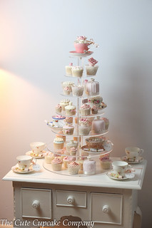 Afternoon tea vintage wedding cupcake tower