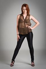 Amy (Kotchka) Tags: portrait black studio model pants amy top bra young redhead redhair 19 sheer discopants