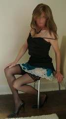 Skirt hitched up (deborah summers2010) Tags: stockings skirt slip satin