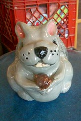 Gray Squirrel Bank frontal view (Chipmunk Hill Arts) Tags: original art animal squirrel funny ceramics bank southernindiana clay bloomington whimsical earthenware graysquirrel katiewolfe