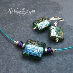"""Necklet & Earrings - Silvered Teal Square Nugget • <a style=""""font-size:0.8em;"""" href=""""https://www.flickr.com/photos/37516896@N05/6830058376/"""" target=""""_blank"""">View on Flickr</a>"""