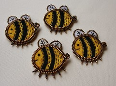 Just a hand full of bees... (woolly  fabulous) Tags: wool yellow pin brooch felt bee zipper embroidered