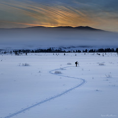 Trail to Perfection (Dylan MacMaster) Tags: snow mountains fog sunrise photographer idaho crosscountry trail stanley rays crosscountryskiing