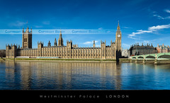 Westminster Palace, London (Beboy_photographies) Tags: bridge blue panorama cloud westminster big ben pano bigben palace bleu ciel londres pont nuage panoramique