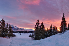 Sunset Panorama (Philipp Klinger Photography) Tags: morning travel blue schnee trees winter light sunset shadow vacation sky orange sun mountain holiday snow ski france mountains alps cold tree travelling nature yellow forest montagne alpes grenoble canon landscape evening frankreich warm europe frost skiing shadows purple zoom trails freezing frosty rhne powershot berge trail freeze tele alpen transition philipp alpenglow chamrousse s100 klinger isre powershots100 rhnealpes canonpowershots100 dcdead