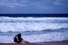 (danielle kiemel) Tags: ocean sea summer portrait people selfportrait beach me girl female youth landscape outdoors evening solitude waves photographer young australia nsw newsouthwales bluehour february centralcoast 50mmf14 2012 wamberal daniellekiemel wamberalbeach nikond5000
