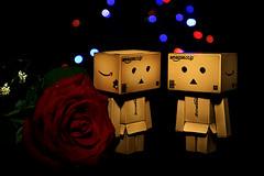 Big Red Rose with Danboard. (HUANG.) Tags: light red flower cute dan rose japan night canon dark toy big nice amazon pretty bokeh small amazoncojp llens danboard danboardmini danboardtoy danboardfigure danboardamazon danboardcute