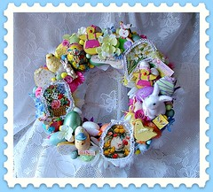 Glitzy Chick Vintage Ephemera Wreath (Treasured Heirlooms) Tags: bunnies glitter easter pastel wreath postcards eggs chicks homedecor brightlycolored doordecoration vintageephemera fauxsweets springdecor vintagenutcups vintageleftonchick oneofakindwreaths