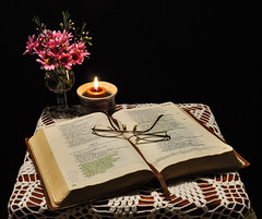 8/52  Still Life (Jan Crites) Tags: flowers stilllife glasses nikon candle explore bible d90 explored 52weekchallenge ihtsw
