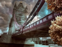 London Tower Bridge IX (Chariots_of_Artists) Tags: city bridge trees london tower stone architecture clouds river boats boat construction infrared thamesriver londontowerbridge eltringexcellence rememberthatmomentlevel1 rememberthatmomentlevel2 rememberthatmomentlevel3