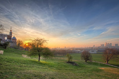 Greenwich Park (TheFella) Tags: park uk greatbritain trees sunset england sun slr london skyline clouds digital photoshop canon landscape eos photo high europe cityscape skyscrapers dynamic cloudy unitedkingdom dusk capital greenwich observatory photograph processing gb 5d dslr canarywharf range hdr highdynamicrange royalobservatory markii greenwichpark postprocessing photomatix thefella 5dmarkii conormacneill thefellaphotography