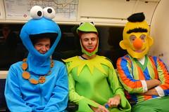 strangers on a (tube) train (looper23) Tags: street railroad england london monster underground costume cookie dress sesame tube muppets strangers bert rail railway frog fancy ernie kermit 2012