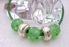 Green Jelly Necklace (Glittering Prize - Trudi) Tags: etched green glass matt fun necklace funky jelly lampwork pvc dotty frosted brigh
