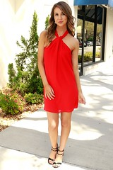 Twist Neck Red Dress (sophieandtrey) Tags: red party dress formal cocktail casual bloodred