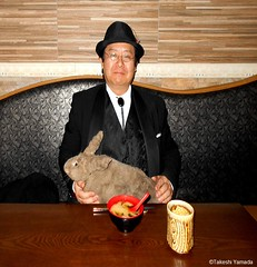 Dr. Takeshi Yamada and Seara (Coney Island Sea Rabbit) at the Shinjuku Japanese Restaurant (Beffet) in Brooklyn, NY on April 28, 2016.  20160428Thu DSCN5146=C.. Shinjuku Japanese Buffet (searabbits23) Tags: ny newyork sexy celebrity rabbit art hat fashion animal brooklyn sushi asian coneyisland japanese star restaurant tv google king artist dragon god manhattan famous gothic goth uma ufo pop taxidermy vogue cnn tuxedo bikini tophat unitednations playboy entertainer oddities genius mermaid amc mardigras salvadordali performer unicorn billclinton seamonster billgates aol vangogh curiosities sideshow jeffkoons globalwarming mart magician takashimurakami pablopicasso steampunk damienhirst cryptozoology freakshow seara immortalized takeshiyamada roguetaxidermy searabbit barrackobama ladygaga climategate  manwithrabbit