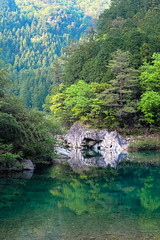 Green and blue (sonica@2006) Tags: blue green water beautiful japan river was clear fujifilm impressed really rever gifu fujinon beautifully xm1 i itadorigawa xf35mm