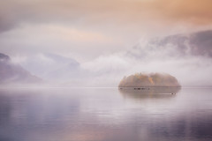 Pastel Lake (Vemsteroo) Tags: morning travel autumn mist mountains reflection nature beautiful fog sunrise canon outdoors dawn soft pastel derwent exploring lakedistrict hills cumbria fells 5d derwentwater keswick 70200mm mkiii circularpolariser leefilters