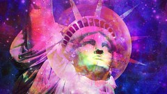 Lady Liberated (JangoFeldman) Tags: statue photomanipulation photoshop liberty effects digitalart surreal glbt textures statueofliberty layered awardtree personalispolitical picmonkey