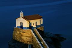 Andros Blues (hapulcu) Tags: bluehour aegean andros cyclades grece grecia greece griechenland kiklades chapel dusk spring
