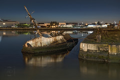 Sleeping Sarsia (alun.disley@ntlworld.com) Tags: longexposure water night docks reflections shipwreck birkenhead industriallandscape wirral merseyside birkenheaddocks sarsia portsandharbours