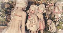Amelie et les petites: Let mommy kiss it and make it better (Amelie Fravoisse) Tags: family pink roses pet white dogs kids vintage garden twins doll albino decor sharpei woodenhorse drd badseed dreamful toddleedoo ancaki shinyshabby