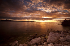 Good Friends and a Sunset_DSC4665 (antelope reflection) Tags: sunset lake color water clouds utah antelopeisland greatsaltlake utahstatepark nikond90